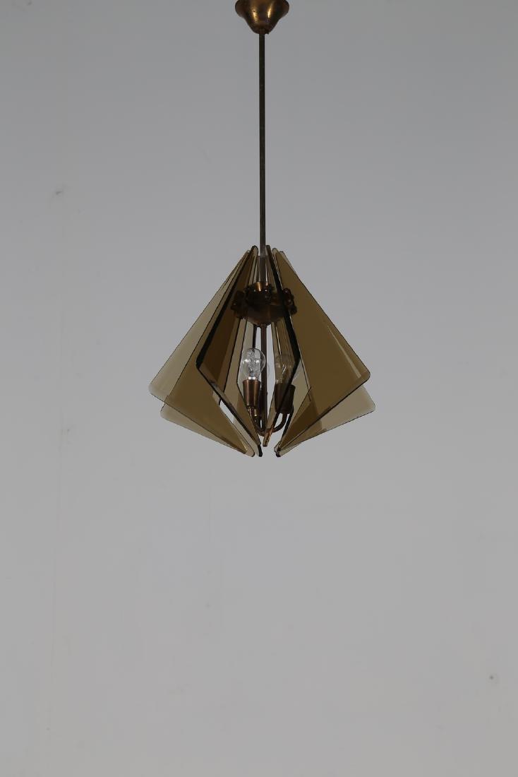 GINO  PAROLDO Ceiling light in brass and smoked glass,