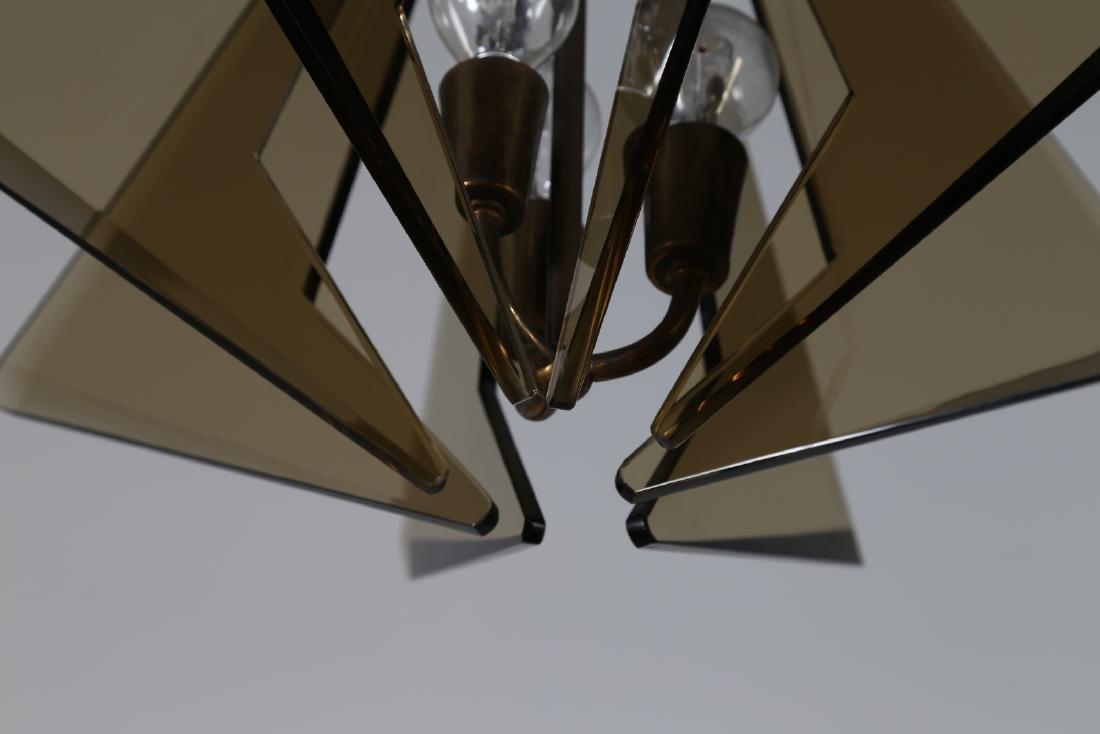 GINO  PAROLDO Ceiling light in brass and smoked glass, - 3
