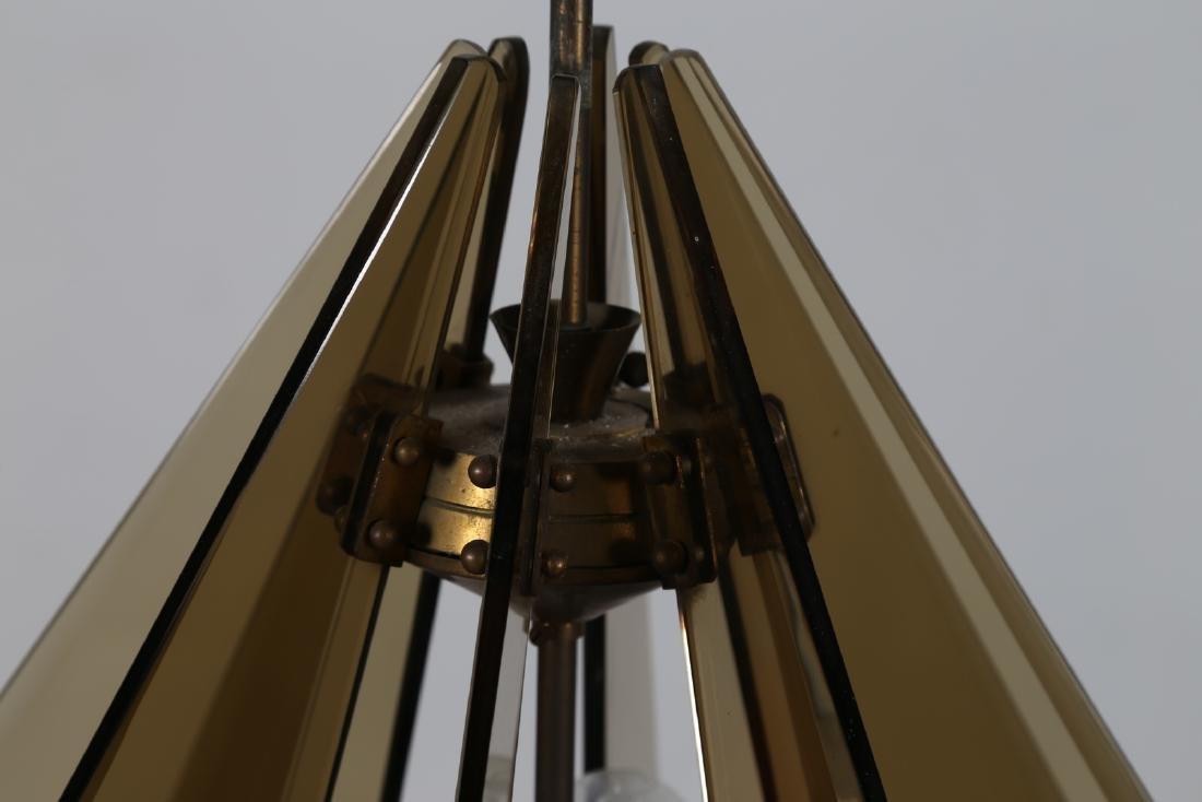 GINO  PAROLDO Ceiling light in brass and smoked glass, - 4