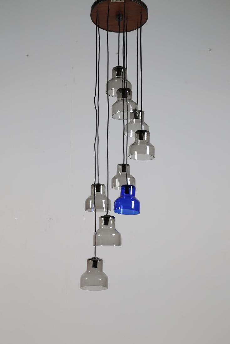 PETER PELZEL Ceiling light in glass and metal, Vistosi,