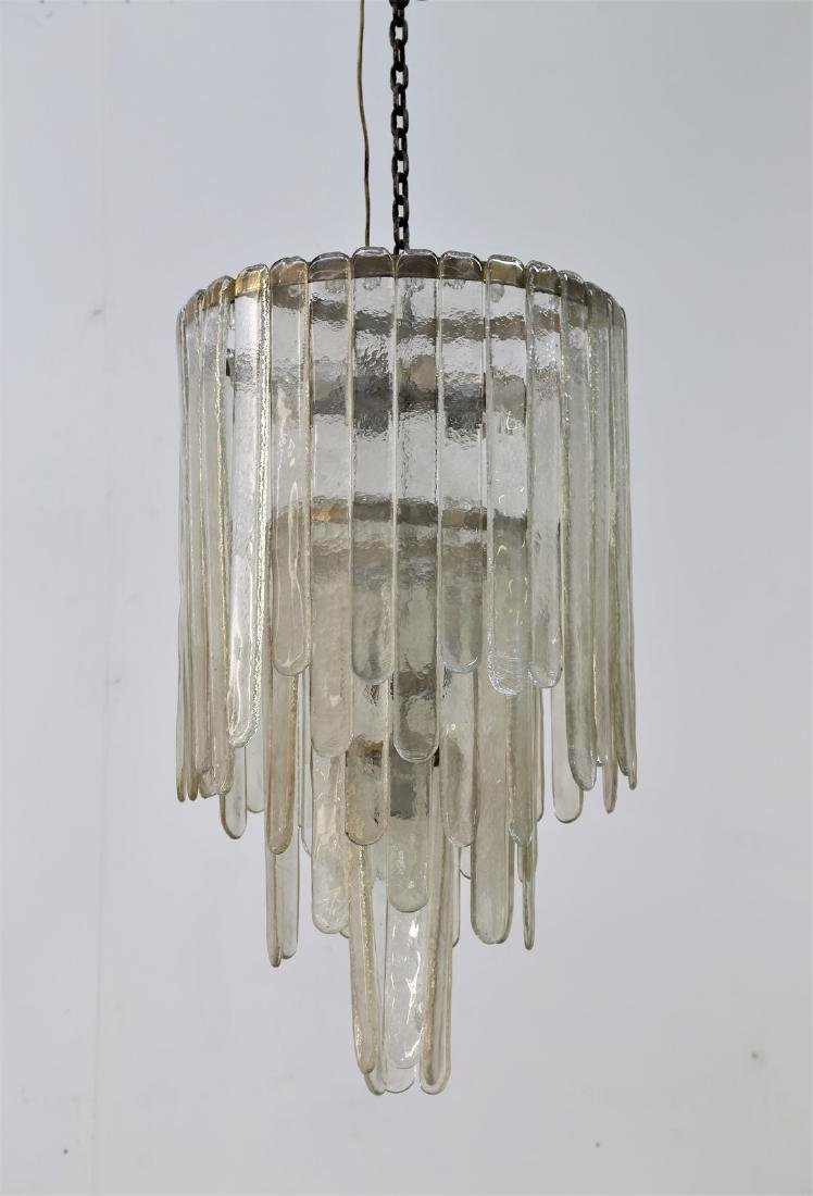CARLO NASON Ceiling light in worked glass and brass,