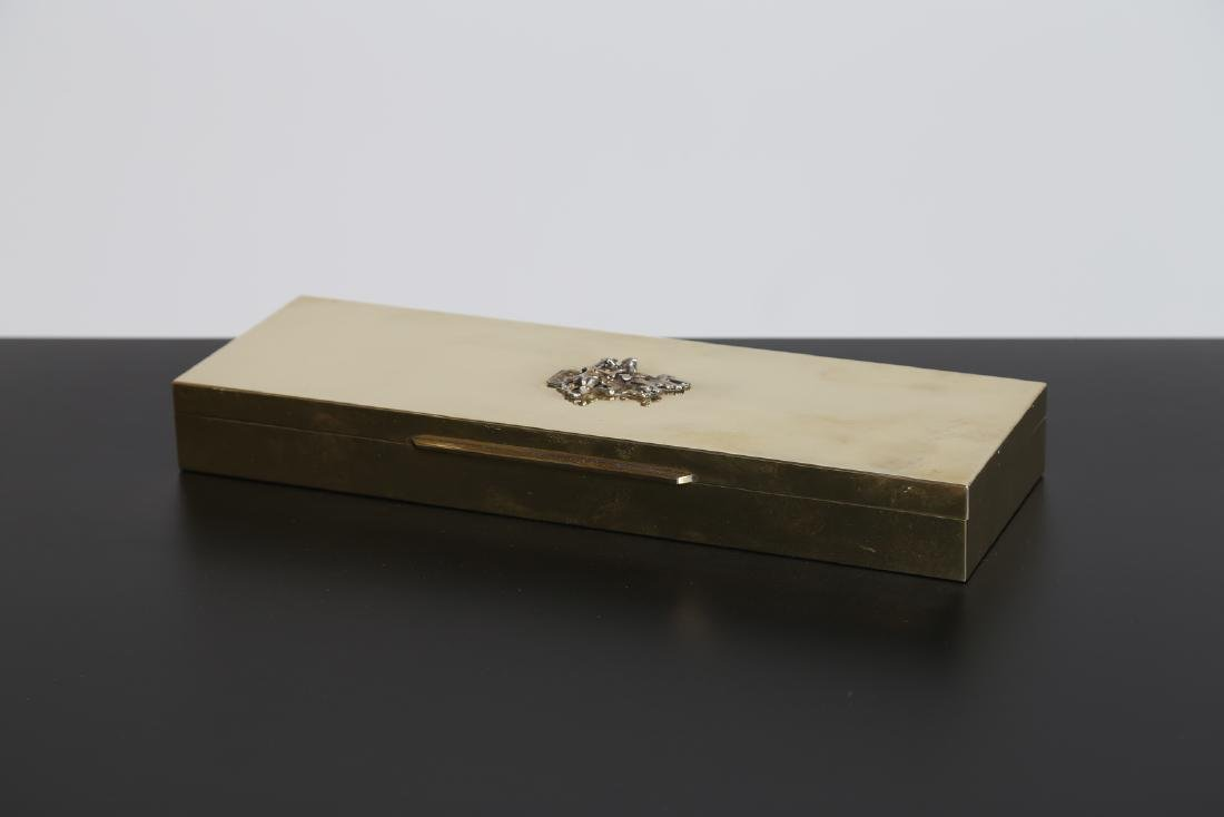 MANIFATTURA ITALIANA  Brass and wood box by Lions Club