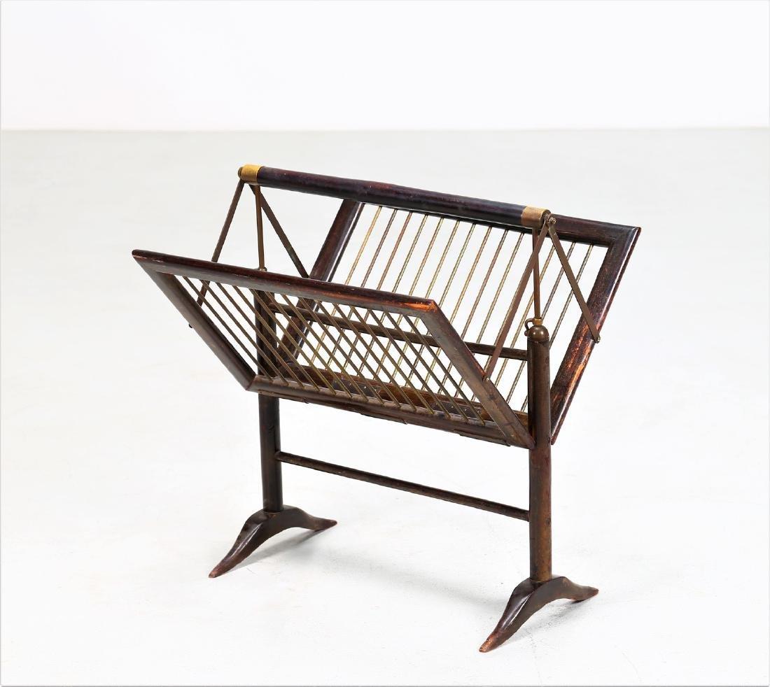 ICO PARISI Distinctive magazine rack in wood and brass,