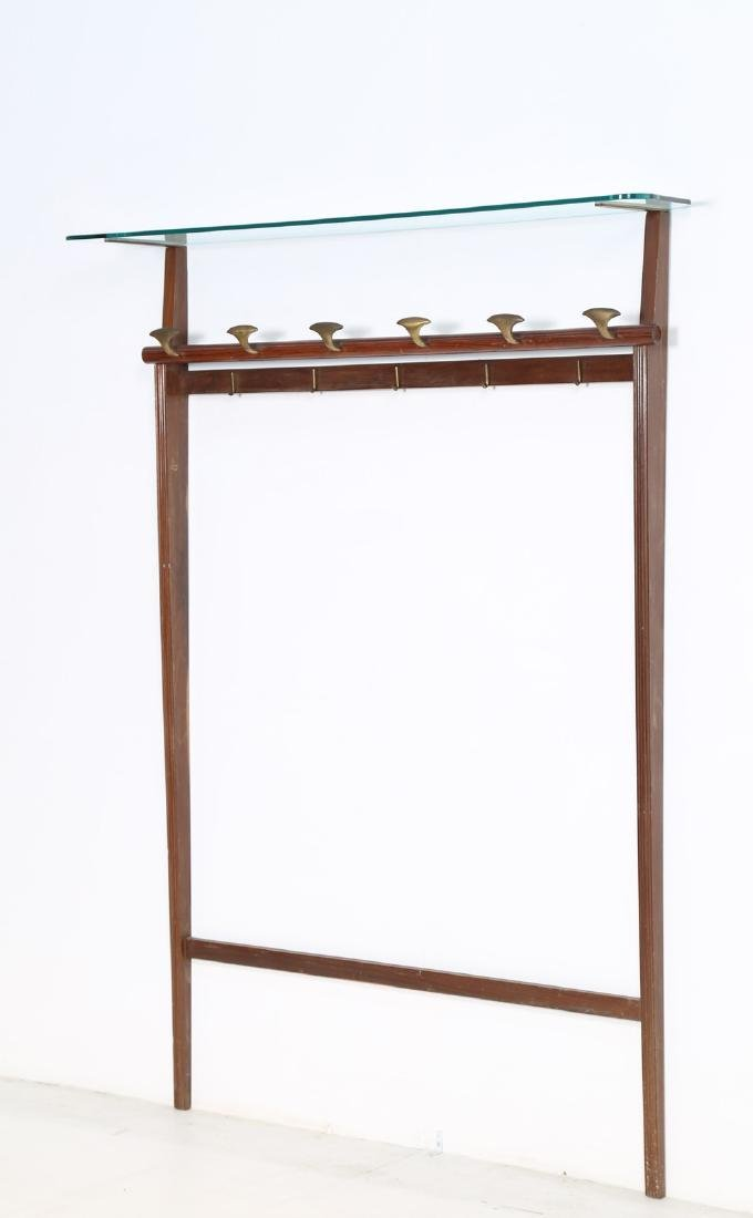 PAOLO BUFFA Wall coat rack in rosewood, brass and
