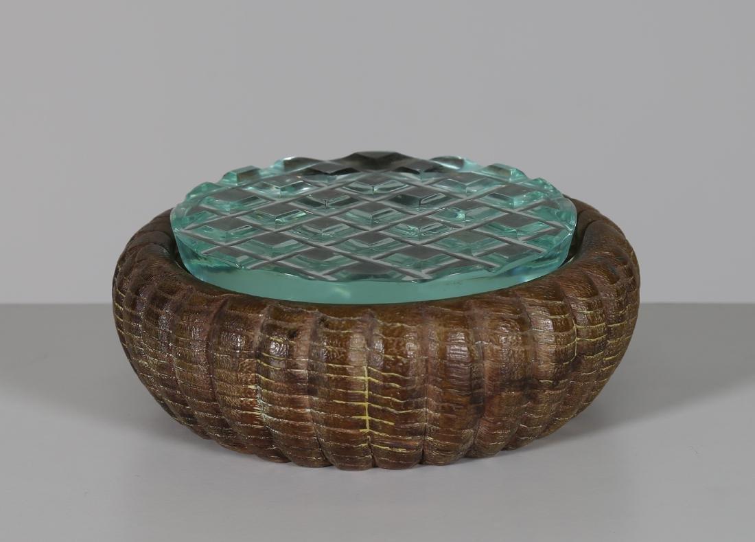 PIETRO CHIESA Wood and cut crystal box by Fontana Arte,