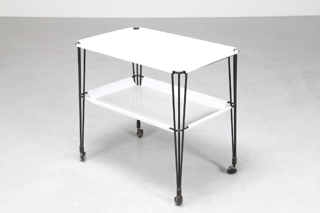OSVALDO BORSANI Rare food trolley in lacquered metal - 2