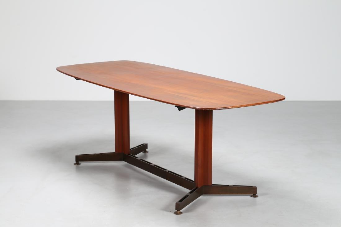 MANIFATTURA ITALIANA Teak and brass table, 1950s.