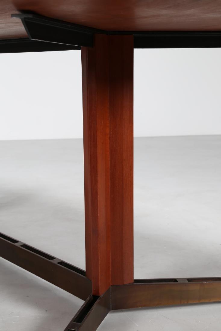 MANIFATTURA ITALIANA Teak and brass table, 1950s. - 3