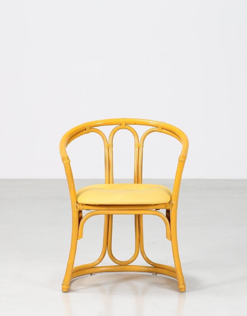 MANIFATTURA ITALIANA  Bamboo and fabric chair. - 3