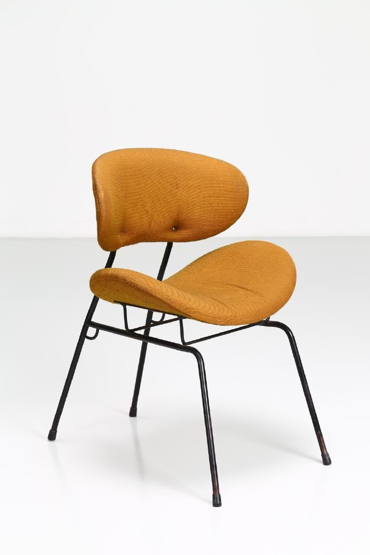 -  Chair in lacquered metal and original fabric.