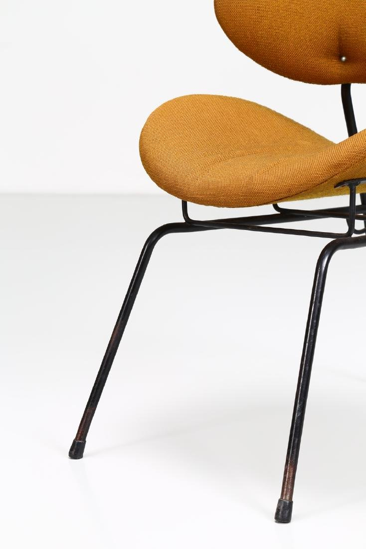 -  Chair in lacquered metal and original fabric. - 6