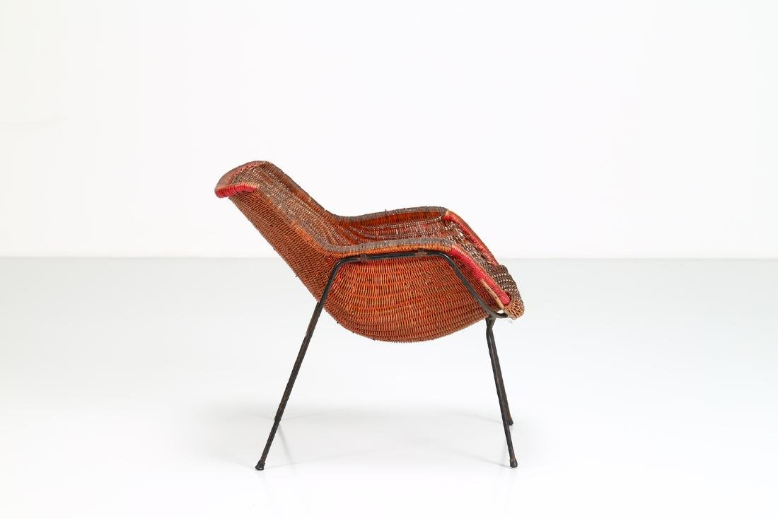 -  Metal and wicker armchair, 1950s. - 2