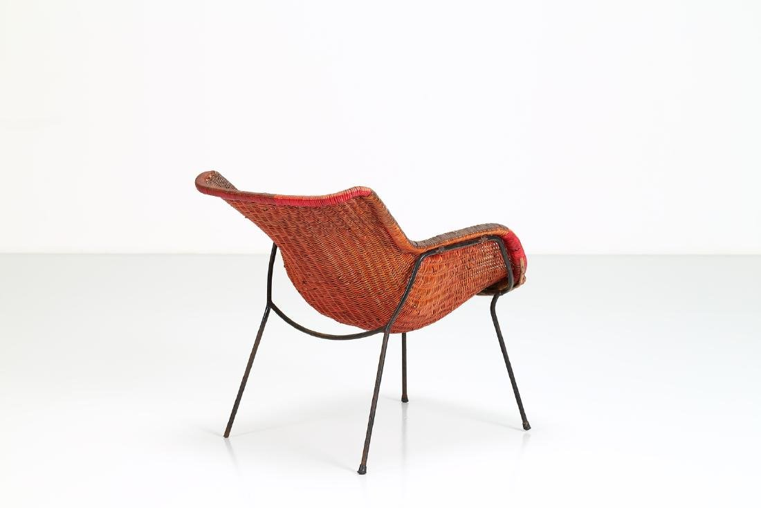 -  Metal and wicker armchair, 1950s. - 3
