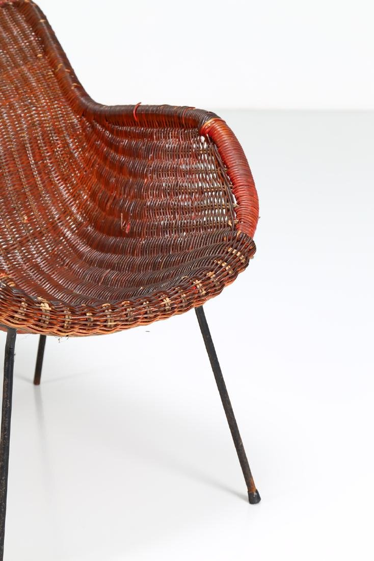 -  Metal and wicker armchair, 1950s. - 4