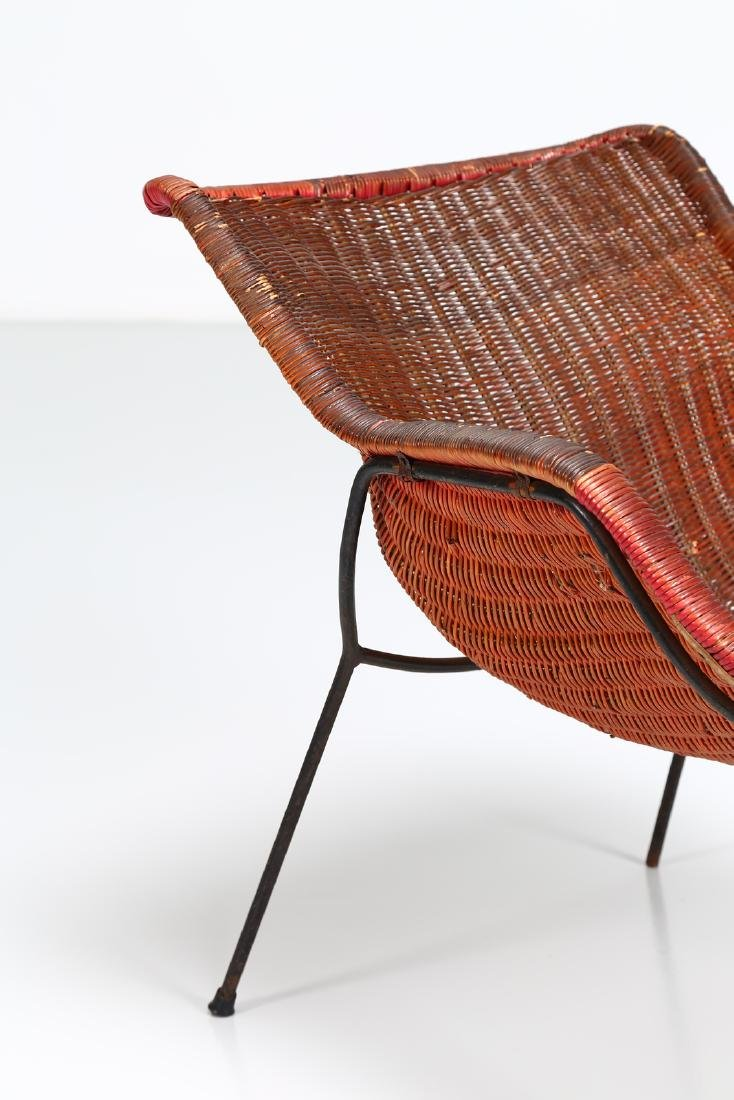 -  Metal and wicker armchair, 1950s. - 5