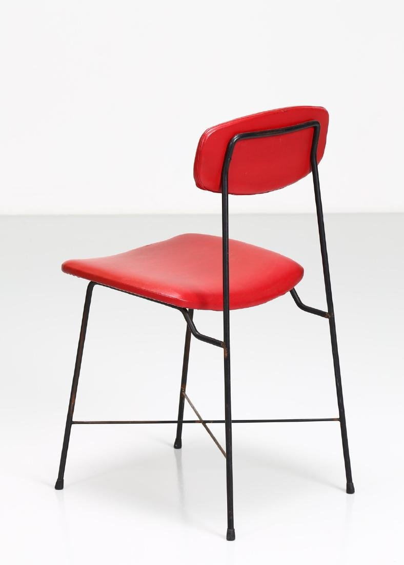 -  Metal and skai chair, 1950s. - 3