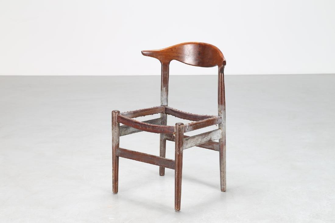 HANS J. WEGNER Distinctive wooden chair, 1950s.
