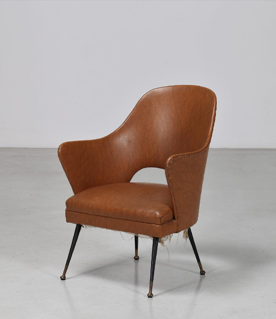 -  Chair in lacquered brass and skai, 1960s.