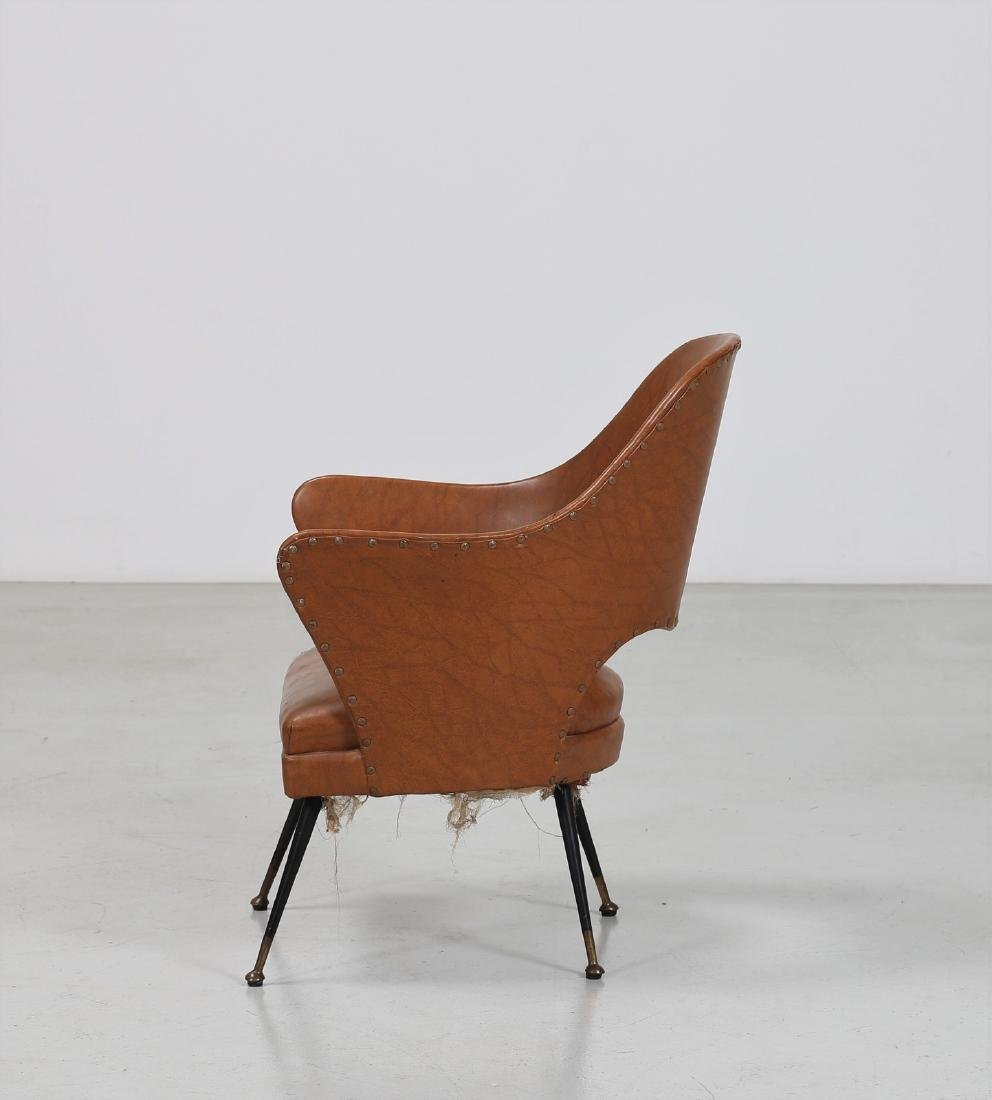 -  Chair in lacquered brass and skai, 1960s. - 2