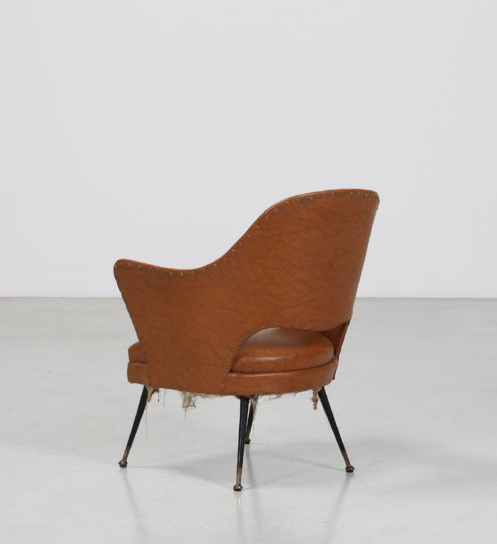 -  Chair in lacquered brass and skai, 1960s. - 3