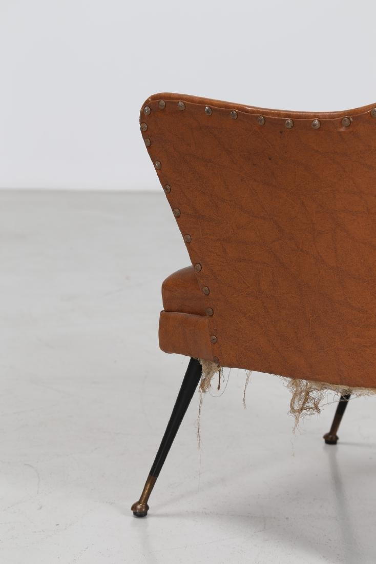 -  Chair in lacquered brass and skai, 1960s. - 4