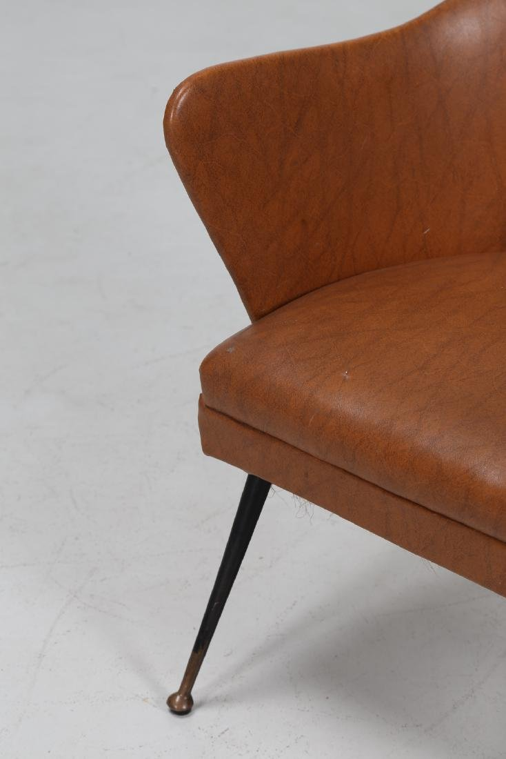 -  Chair in lacquered brass and skai, 1960s. - 7