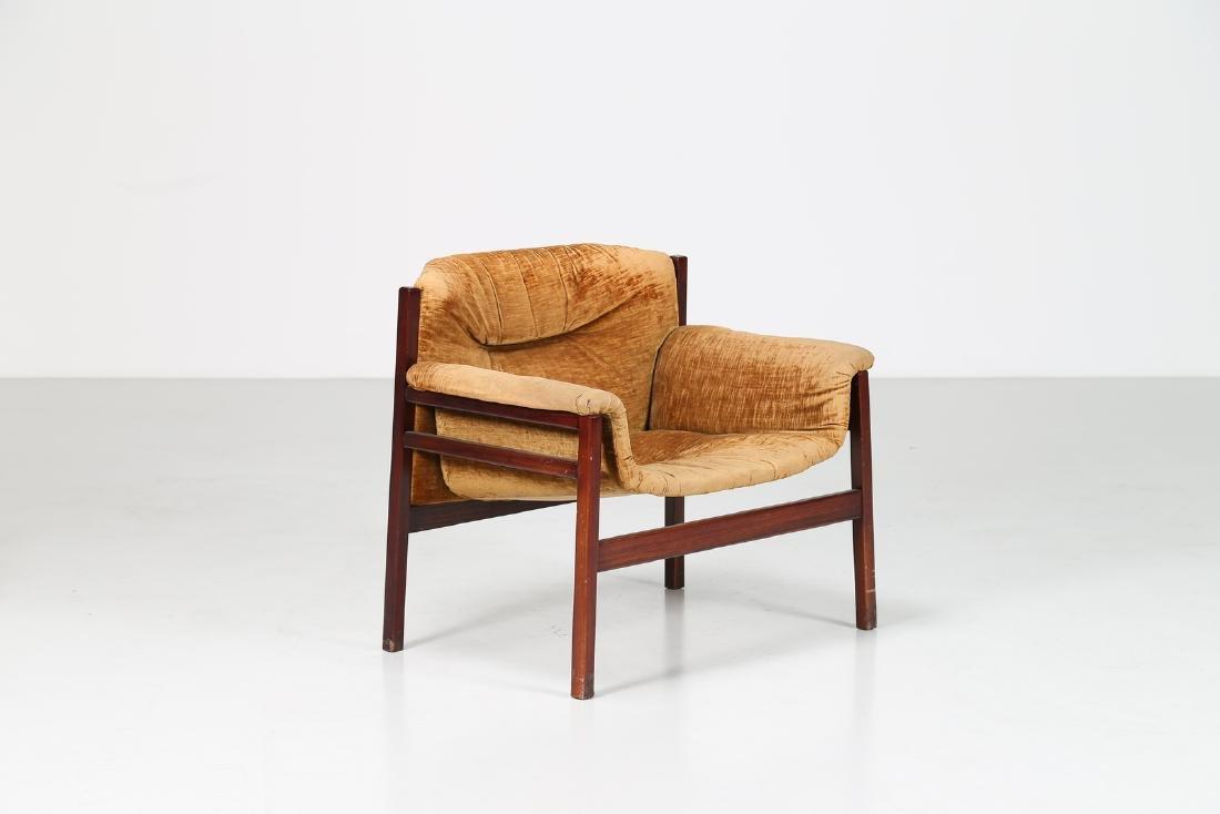 MANIFATTURA ITALIANA  Rosewood and woven seat, 50's..