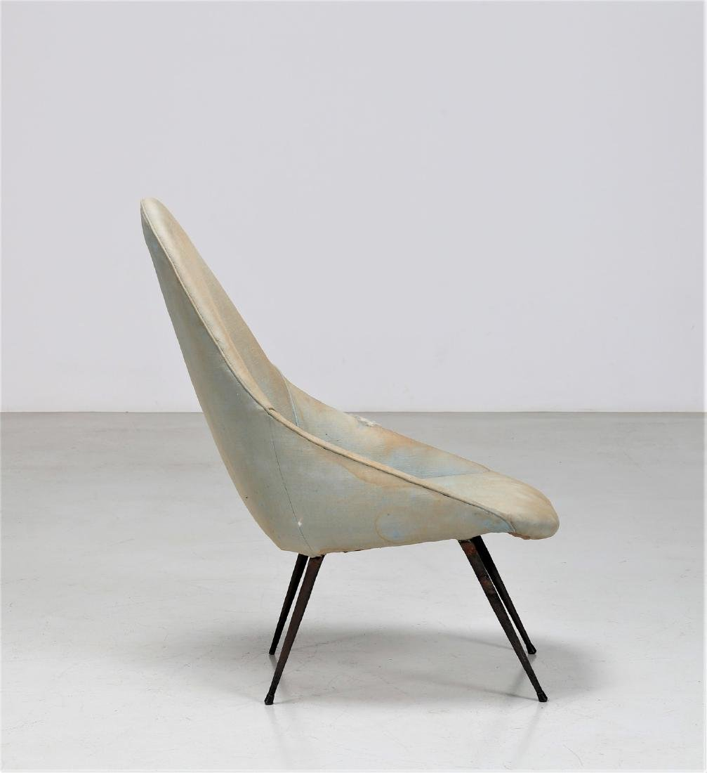 -  Easy chair in metal and fabric, 1950s. - 2