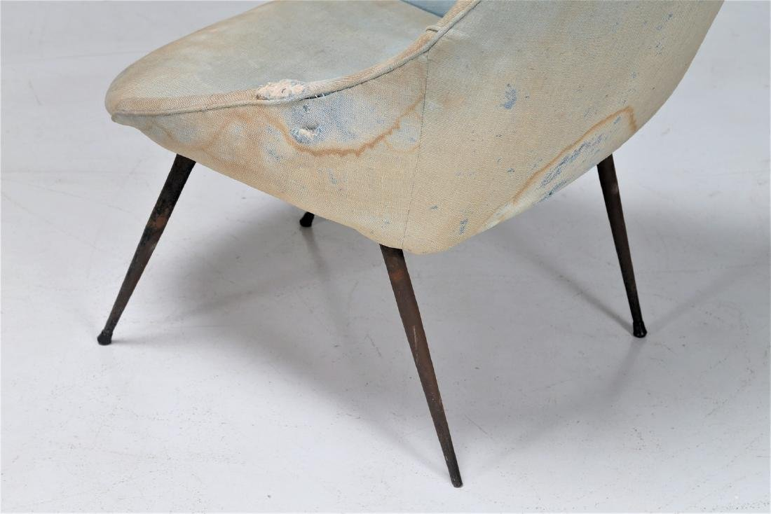 -  Easy chair in metal and fabric, 1950s. - 7