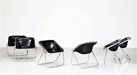 GIANCARLO PIRETTI Six chromed metal and leather chairs,
