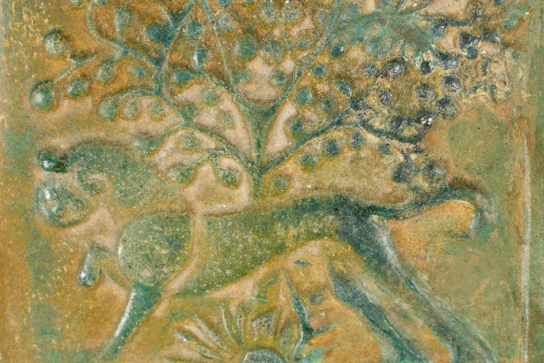 Arte Islamica  A pottery tile decorated with lion, tree - 2