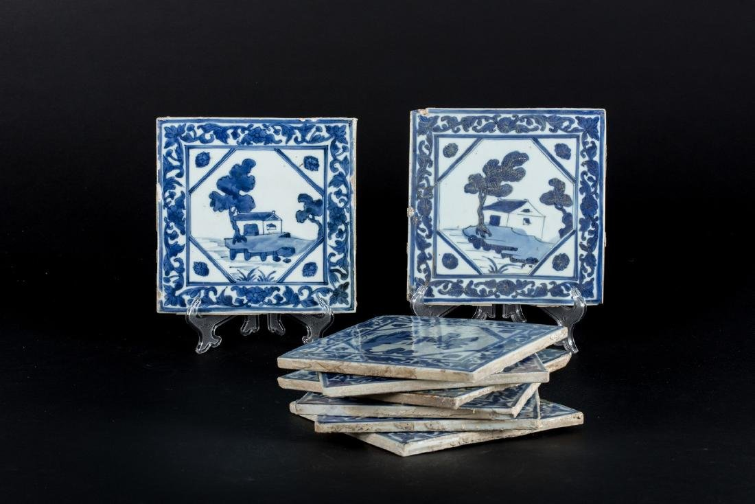 Arte Islamica  Eight blue and white Chinese tiles made