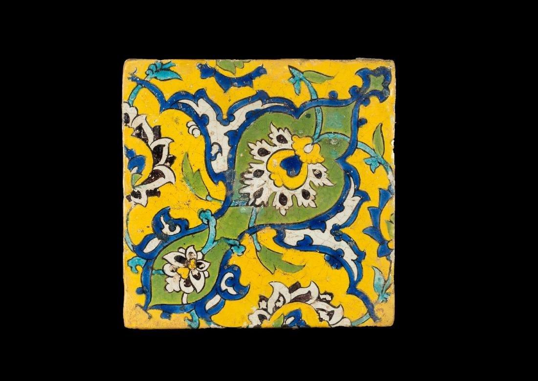 Arte Islamica  Safavid cuerda seca pottery tile
