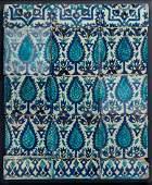 Arte Islamica  A panel of Damascus underglazed tiles