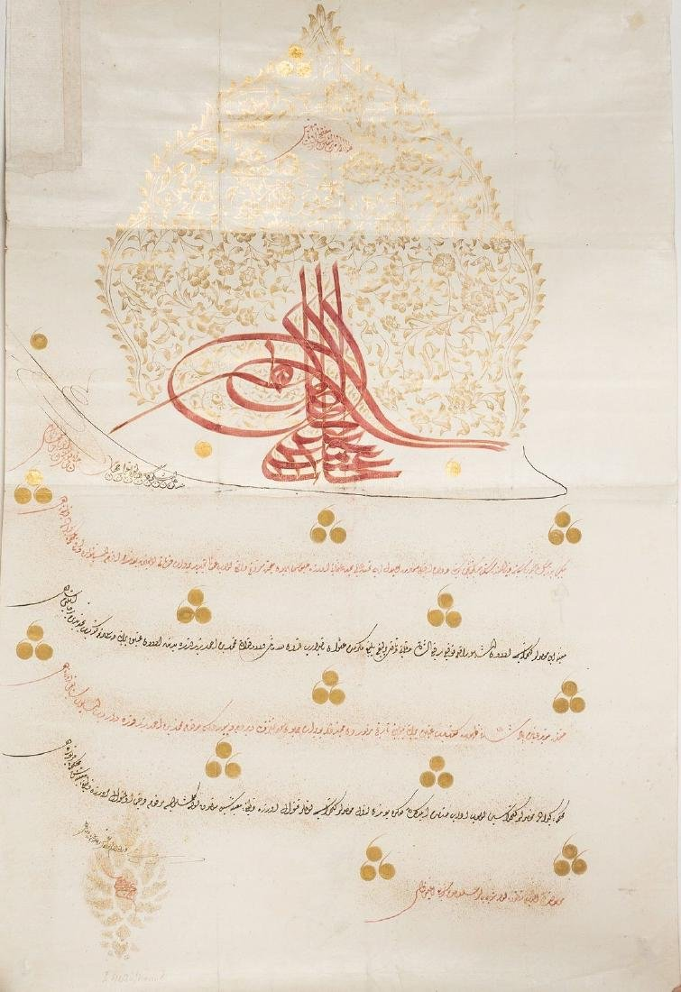 Arte Islamica  Ottoman firman with red tughra of Sultan