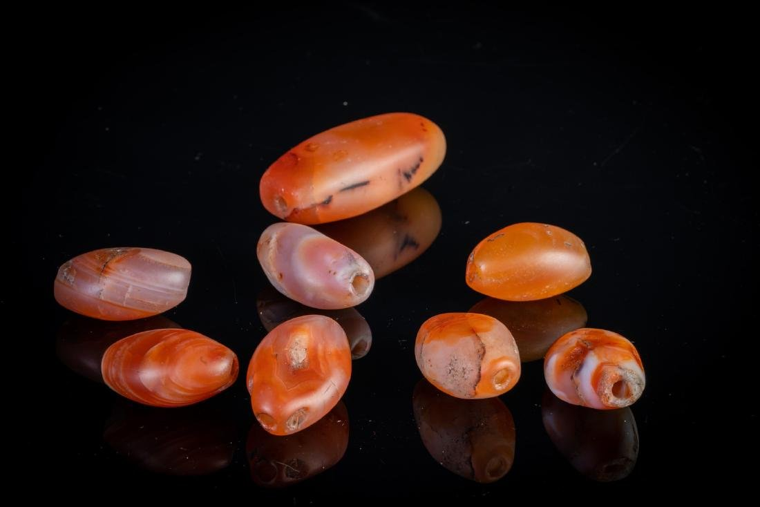 Arte Himalayana  A group of eight carnelian beads . - 2