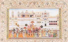 Arte Indiana A miniature painting depicting a Maharaja