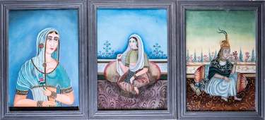 Arte Indiana A group of three mirror paintings