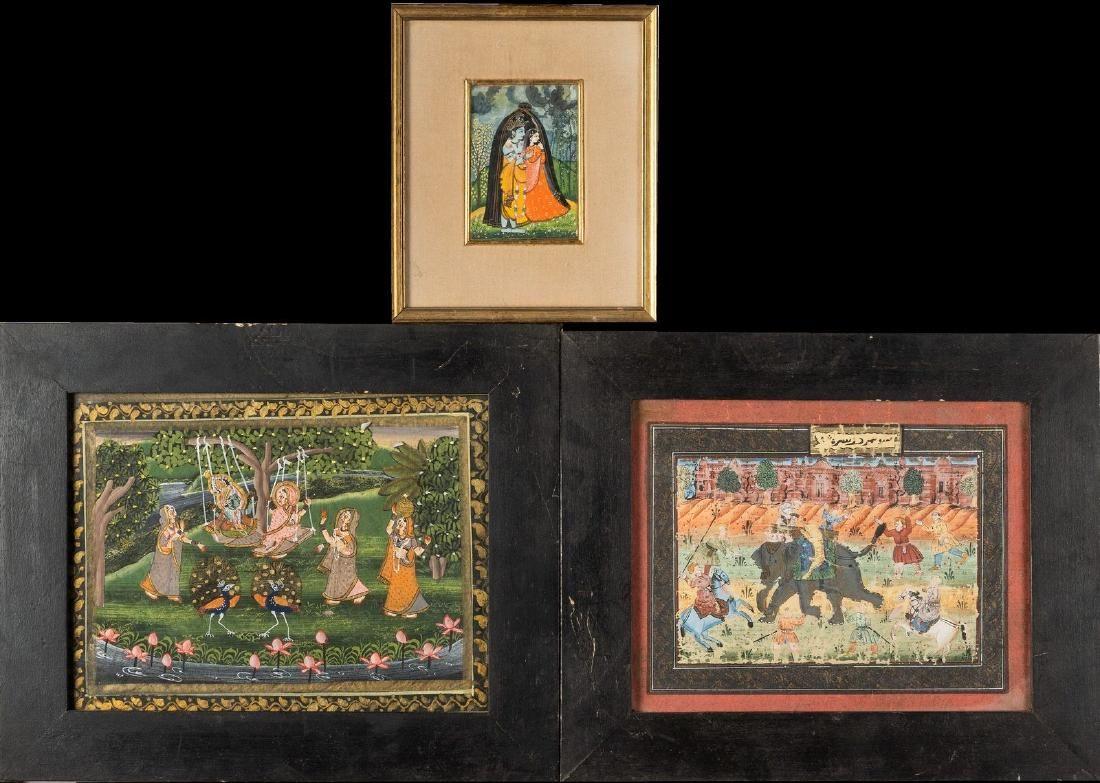 Arte Indiana Three indian miniature India, 20th