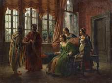 LODOVICO RAYMOND Interior landscape with characters. .
