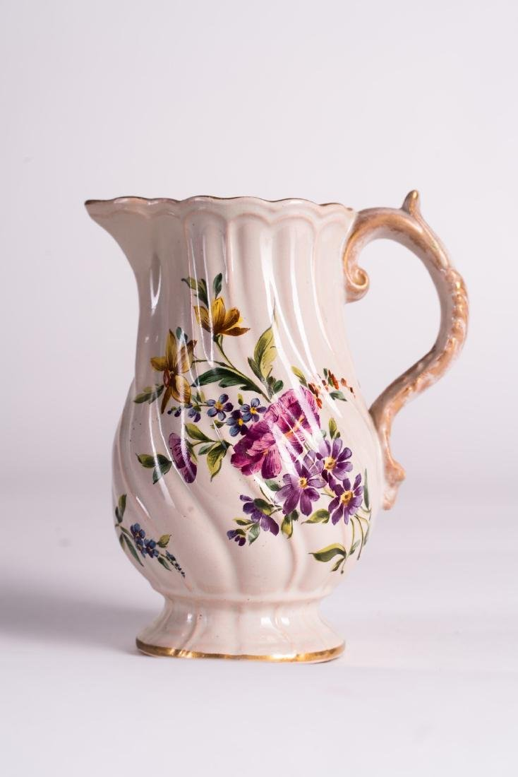EMILE GALLE' Ceramic pouring vase with handle applied