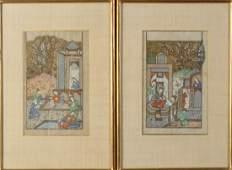 Arte Islamica  A pair of Persian miniature paintings