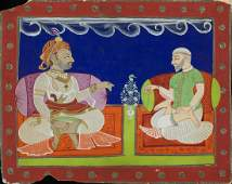 Arte Indiana A miniature painting depicting Raja and