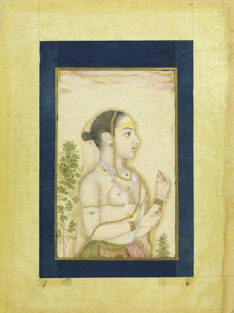 Arte Indiana  A portrait of a young lady India,