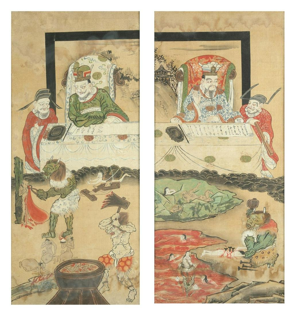 Arte Cinese  A pair of paintings depicting the Daoist