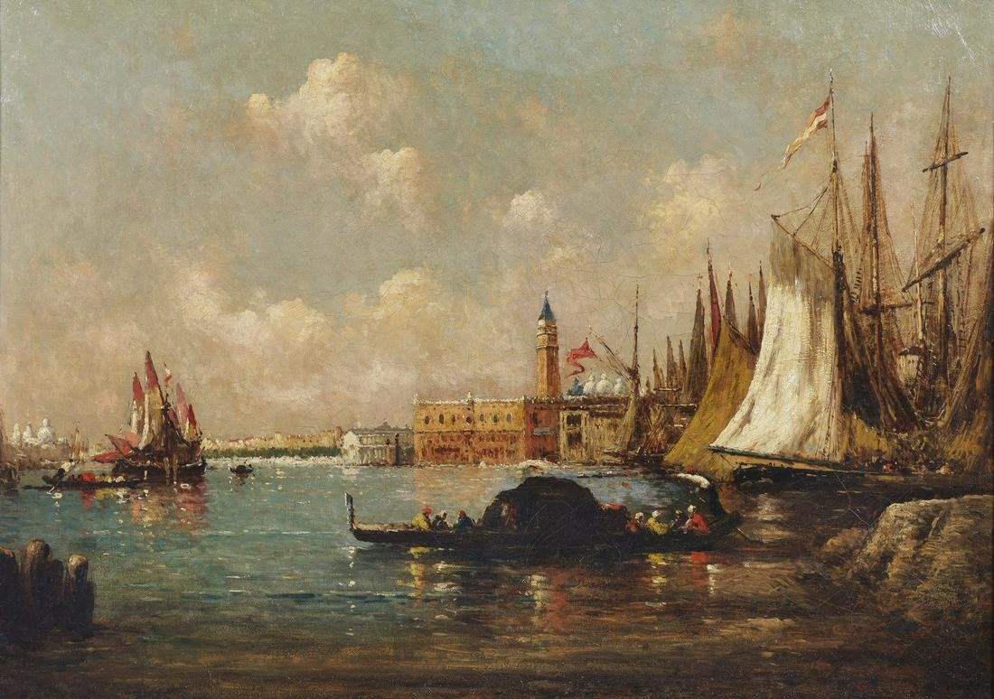 ARTISTA FRANCESE DEL XIX SECOLO  Venice seascape with