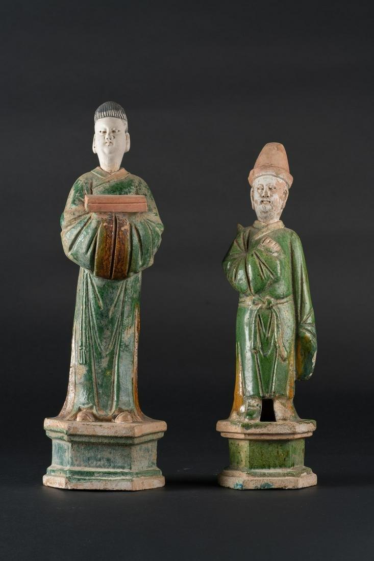 Arte Cinese  Two glazed earthenware Minqi burial
