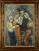 OTTORINO GAROSIO Old man with accordion and child.