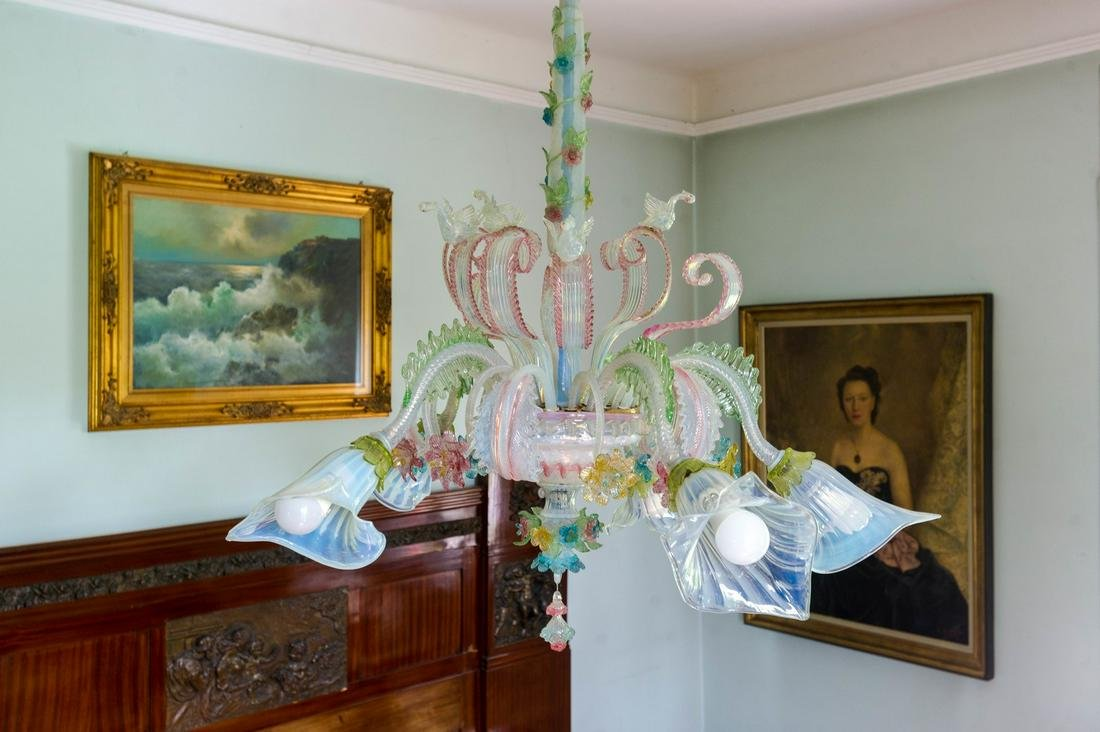 MURANO  Crystal chandelier with 5 lights, polychrome.
