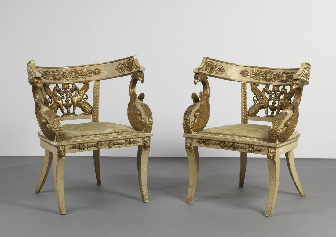 FRANCIA, PERIODO DELL'IMPERO  Pair of lacquered and